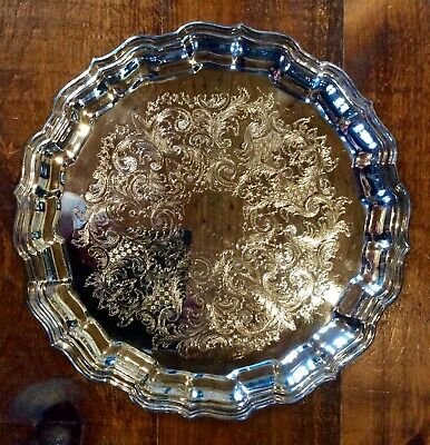 """Sheffield Silver Co Vintage 14"""" Serving Tray 284 Made In USA"""