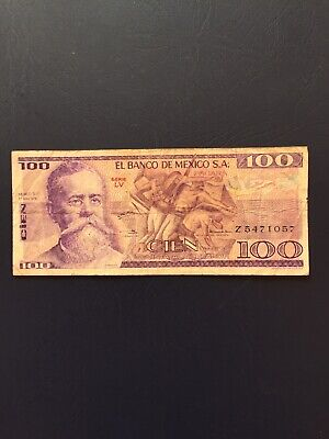 Circulated 100 Denomination Mexican Bank Note. Ideal For An Avid Note Collector.
