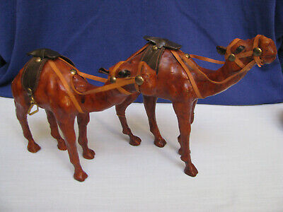 2 Leather Wrapped Camels Arabian Dromedary Middle Eastern Nativity Figurine Xmas