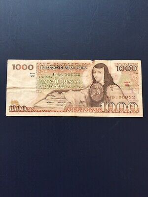 Circulated 1k Denomination Mexican Bank Note. Ideal For An Avid Note Collector