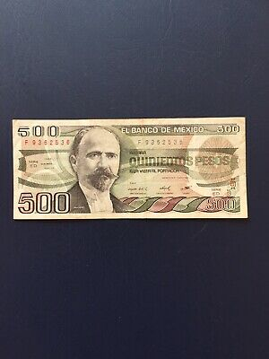 Circulated 500 Denomination Mexican Bank Note. Ideal For An Avid Note Collector