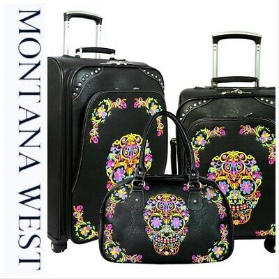 Montana West Sugar Skull Collection 3 Piece Luggage Set/Collection -Black