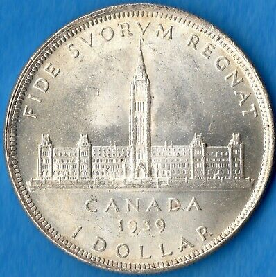 Canada 1939 $1 One Dollar Silver Coin - Parliament Building - Uncirculated+