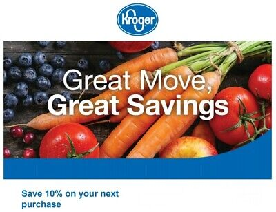 Kroger - 1coupon for 10% off entire purchase at Kroger - Exp. 11/17/19