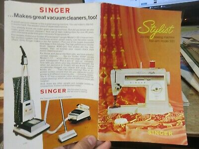 1976 Singer Sewing Machine Stylist Arm Sew Zig Zag Model 533 Owners Manual Book