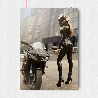 Super Hot Sexy Girl Poster Latex Rubber Erotic Motorbike Motorcycle A3 A4 Size