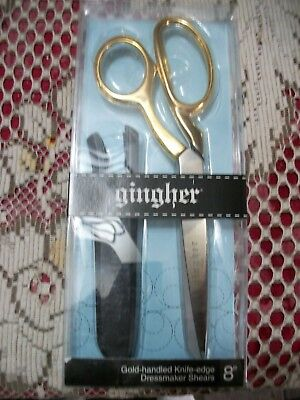 """Gingher Quality 8""""  Gold Handle Knife Edge Dressmaker Shears - Made In Italy"""