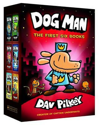 Dog Man 1-6 HB Boxed Set by Dav Pilkey Hardcover Book Free Shipping!