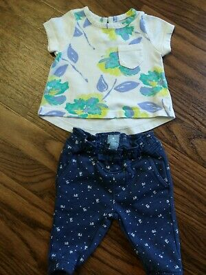 Baby Gap Girls Hi-low Floral T-shirt Navy Flower Skinny Joggers Size 0-3 Months