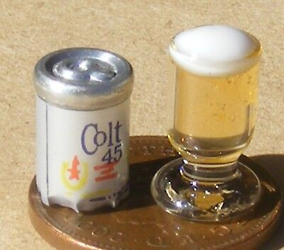 1:12 Scale Tumdee Dolls House Spilled Glass Of Beer Lager Brown Ale Stout Drink