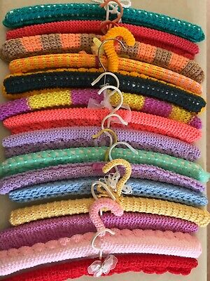 21 Vintage Crochet KNITTED COVERED CLOTHES HANGERS LOT OF Brights & Pastels 1970