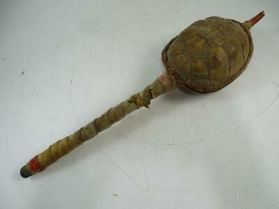 Antique Native American Indian Leather Wood Ceremonial Rattle Staff Vintage Old