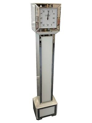 Tall Square Mirrored White Glass Mirrored Grandmother Grandfather Standing Clock