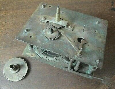 Large antique brass clock workings, parts missing, spares or repair, No name.