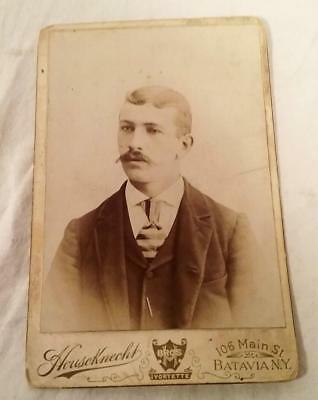 Antique Victorian Era Cabinet Photograph Young Man With Handlebar Moustache