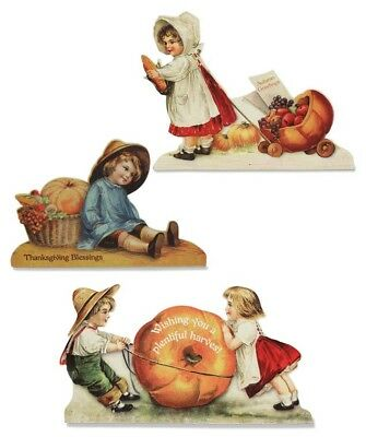 Thanksgiving Wood Dummy Board Display's Set of 3 Bethany Lowe Vintage Children