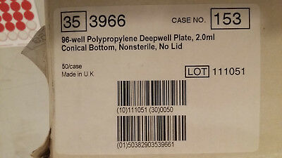 96-well 35-3966 2mL Polypropylene Deepwell Plate Conical Bottom Non-sterile 50
