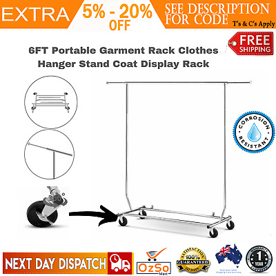 Portable Garment Rolling Display Rail Commercial Hanger Collapsible Clothes Rack