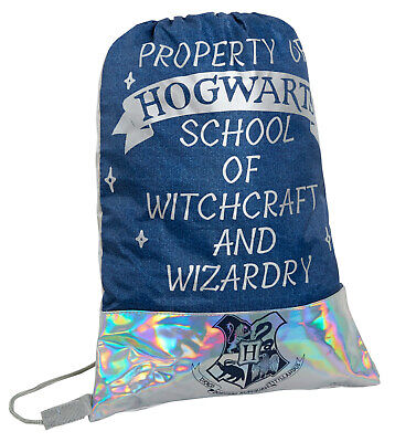 Girls Harry Potter Iridescent Drawstring Gymbag Kids Hogwarts Swimming Lunch Bag
