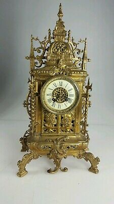 Large Antique french Brass Mantle clock