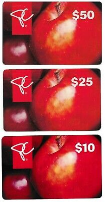 3 Collectible store APPLE RESIDENT'S CHOICE LOBLAW FORTINOS gift cards fruits