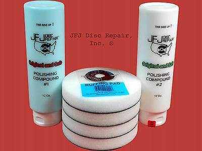Jfj Combo Pack: 1 Blue Polish 12Oz + 1 White Polish 12Oz + 4 Easy Pro Buff Pads
