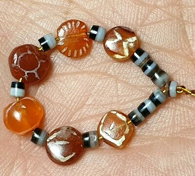 6 Ancient Rare Small Indo-Tibetan Pyu Etched Carnelian Agate Bead