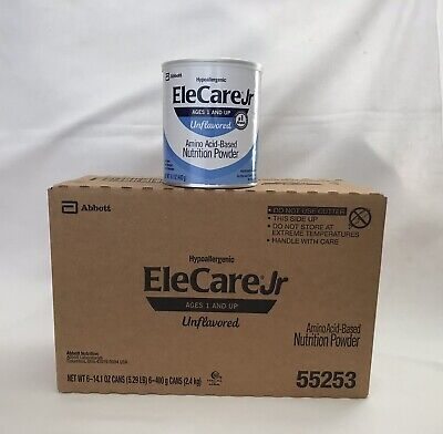 EleCare 55253 Jr Unflavored 1 Case of 6-14.1oz Can Powder