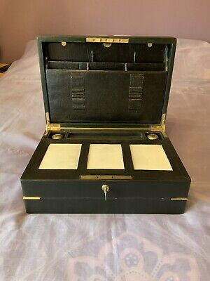 Victorian Leather Writing Slope/ Box With Working Bramah Lock & Key