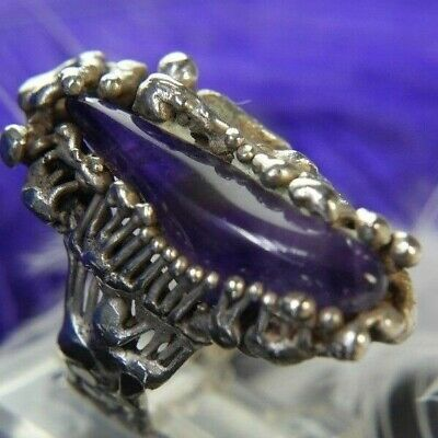 "Brutalist 1 1/8"" Amethyst .925 Sterling Silver Hand Crafted Estate Ring size 5.5"