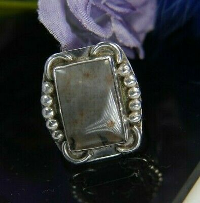 Gray Brown Quartz Hand Wrought 0.925 Sterling Silver cocktail estate Ring size 8