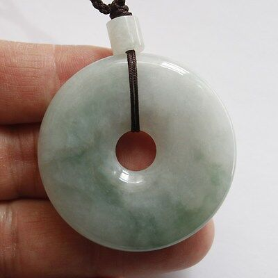 CERTIFIED Natural Grade A Light Green Jadeite Jade Circle Donut Pendant #P888