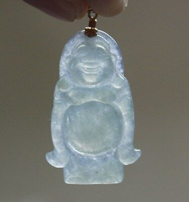 18K Certified Natural Grade A Icy Jadeite Jade Carved Chinese Buddha Pendant