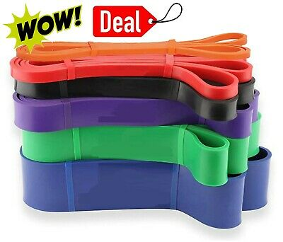 Rubber Resistance Bands Pull Up Exercises Loop Straps Set Stretch Power Assisted