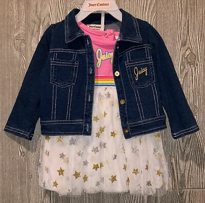 JUICY COUTURE 3 Pc Denim Jacket S/L Tulle Skirt Dress NEW Infant Girls 12 18 Mos