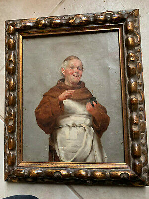 19th century antique oil painting of laughing friar by A Schmicker, Florence