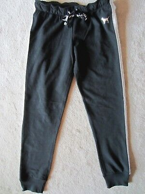 Women Victorias Secret Pink Black Gym Pan Skinny Banded Sweatpants Sweats Xsmall