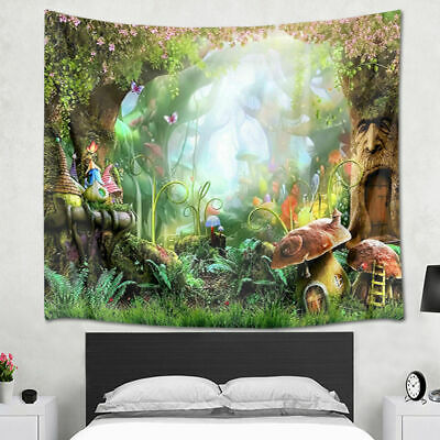 Tapestry Wall Hanging Fairytale Forest Mushroom Cottage Bedspread Bedroom Decor