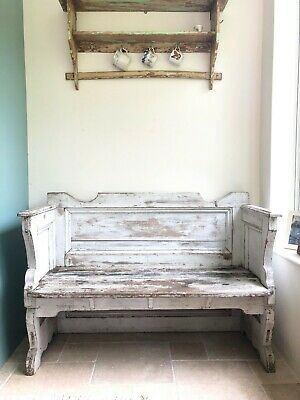Rustic French Chippy White Wooden Bench Settle In Original Paint