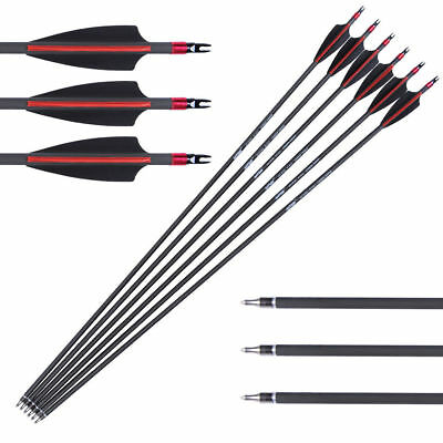 80% Carbon Archery Arrows 6pcs SP340 High Quality For Bow Hunting Practice