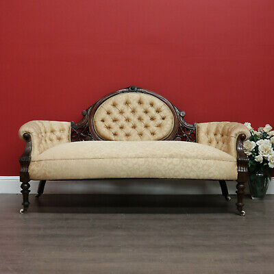 Antique English Walnut Double Ended Armchair Chaise, Button Back, Gold Fabric