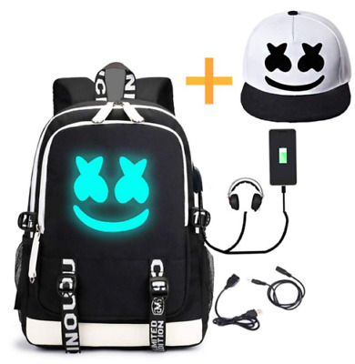 DJ Marshmello Luminous Backpack Chris Comstock Doctom Bag USB Charging Port New