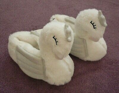 NEW Girls Soft White Fluffy Faux Fur Sparkly Silver Wing Ballerina Swan Slippers