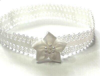 Baby tiara for wedding christening ivory pearl braided headband UK Handcrafted