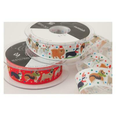 Christmas Ribbon Assorted Dogs 25mm x 1m Cut Piece Gift Wrapping Card Craft Bows
