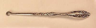 """Victorian Ornate Sterling Silver Handle 6 1/4"""" Button Or Shoe Buckle Hook"""