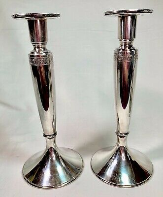 "Antique Wilcox SP Co. International Silver Plated 140 10"" Candlesticks"