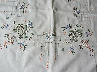 """Tablecloth ~ Open Cutwork ~ Embroidered Floral ~ 204"""" Circumference"""