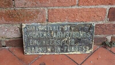 "Industrial Brass Bronze VICKERS ARMSTRONGS BARROW IN FURNESS Sign Plaque 12""X 6"""