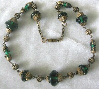 Antique French Beautiful Green Glass & Brass Filigree Ornate Necklace
